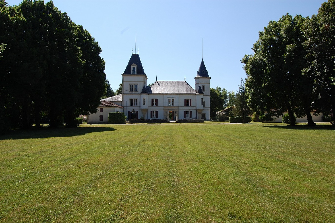 view from the chateau of the grounds with front lawn